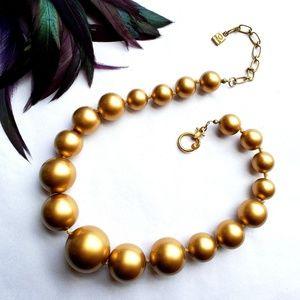 Oscar de la Renta Golden Graduated Bead Necklace